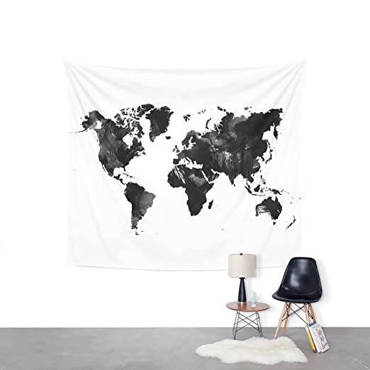 Amazon society6 black watercolor world map wall tapestry amazon society6 black watercolor world map wall tapestry small 51 x 60 hedehede home kitchen gumiabroncs Image collections