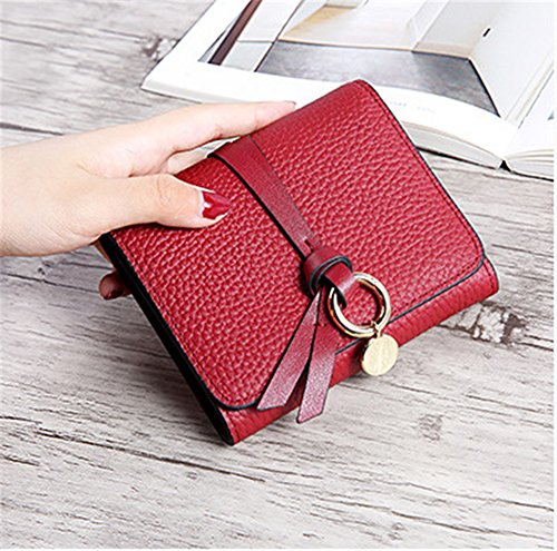 Xinmaoyuan Damen Geldbörsen Vieh Wallet Geldbörse Damen kurze Clip Halteklammer Tasche leicht zu tragen Geldbörse, Schwarz Rot