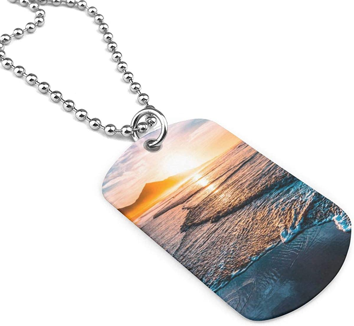 Amazing Beach Sunset Jewelry Military Pendant Brand Necklace Metal Dog Tag