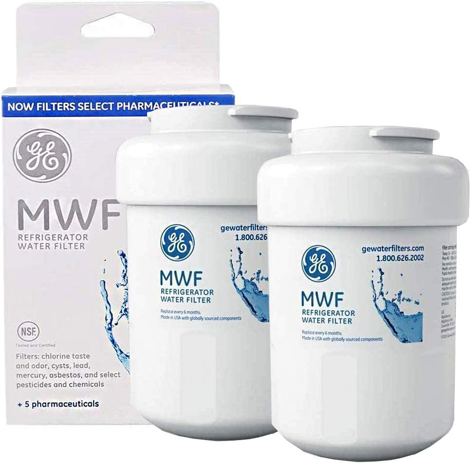 MWF Water Filter Replacement for GE Refrigerator Water Filter Cartridge Compatible with GE SmartWater MWF, MWFP, MWFA,GWF, GWFA, 2 Pack