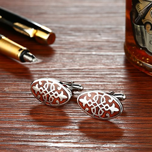 PenSee Mens Rare Cuff Link Stainless Steel & Red Wood Cufflinks-Various Styles (Red Wood -Floral Pattern 2)