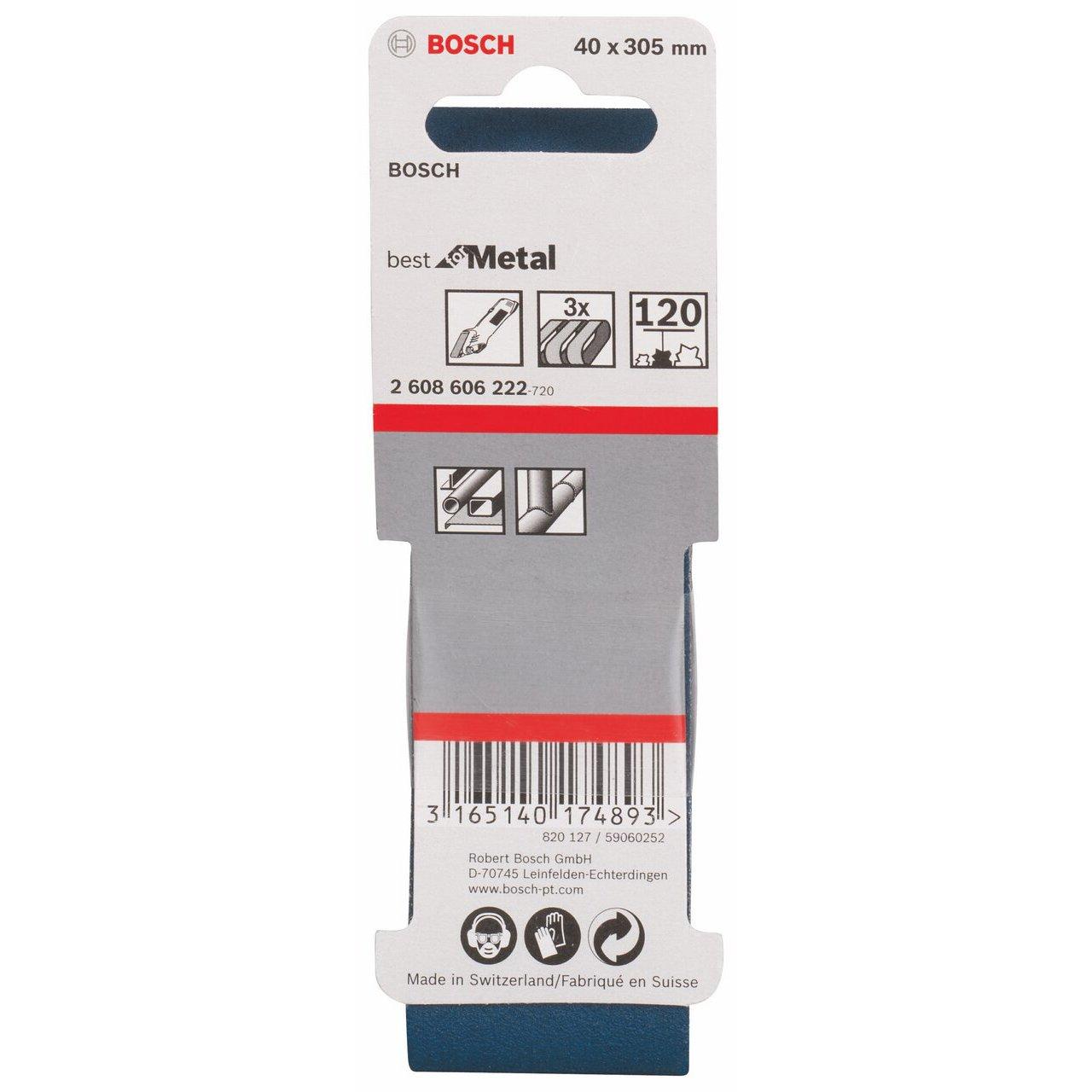 Bosch 2608606223 Ruban abrasif pour ponceuse /à ruban 40 x 305 mm Grain 180 3 pi/èces