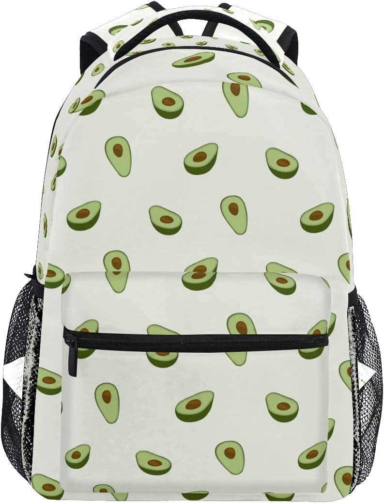 MOYYO Healthy Fruit Avocado School Backpack College Book Bag Casual Lightweight Travel Camping Laptop Daypack for Teens Women Girl with Bottle Side Pockets