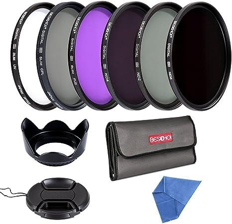 BESCHOI - Pack de Filtros Fotográficos 67MM (UV+CPL+FLD+ND2+ND4+ND8)+ Pétalo Parasol + Centro Tapa Pinch del Objetivo + Paño de Limpieza de Microfibra + Funda de 6 Narunas de Filtro: Amazon.es: Electrónica