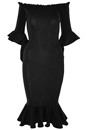 Midi dress with bardot sleeve and peplum hem