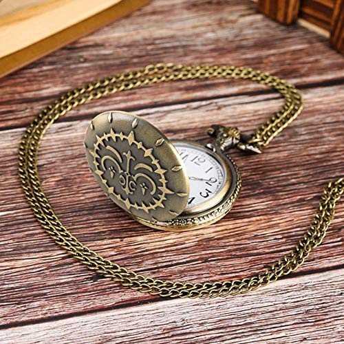 ZJZ Vintage fickur retro brons kvarts vintage fickur män med halsband hänge klassisk klocka