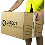 5 Strong Extra Large Cardboard Storage Packing Moving House Boxes Double Walled with Carry Handles and Room List 60cm x 45cm x 40cm 24'' x 18'' x 16''