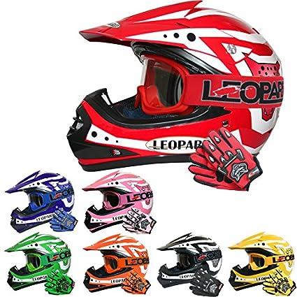 Leopard LEO-X17 Casco de Motocross para Niños Rojo S (49-50cm)