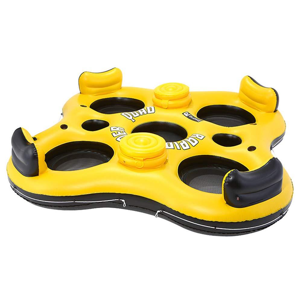 Floating row 4 Persone Gonfiabile Galleggiante Lettino-Oceano Galleggiante Anello Letto Galleggiante, Fondo della griglia, 4 Tazza Fori, Beach Water Toy per Adulti e Bambini
