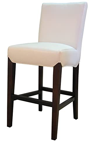 New Pacific Direct Milton Bonded Leather Counter Stool 26 ,Brown Legs,White,Fully Assembled