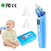 Electric Baby Nasal Aspirator – Battery Operated Nose Cleaner and Snot Sucker – Adjustable Settings and Reusable Tips with LCD Screen