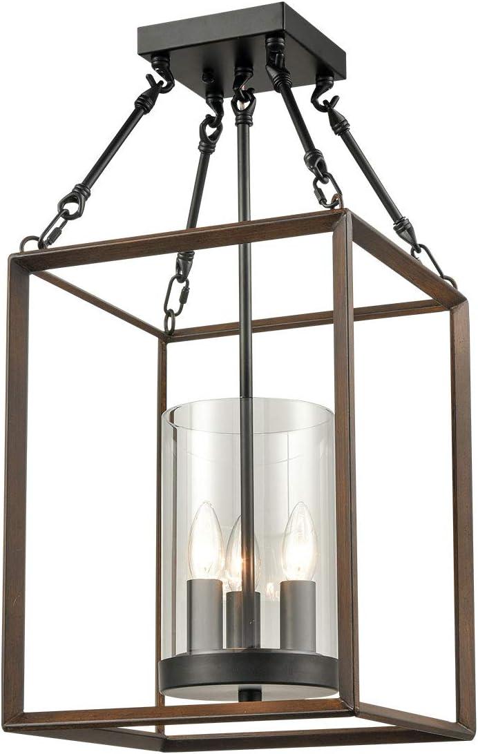 Farmhouse Hanging Foyer Lantern Chandelier 3-Light Glass Shade Lantern Ceiling Pendant Lights Faux-Wood Finish