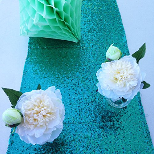 Emerald Green Sequin Table Runner (14''108'') by ShiDianYi