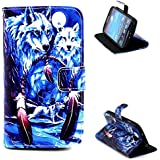 S4 Case, Galaxy S4 Case, Wild Wolf Premium PU Leather Wallet Flip Protective Skin Case with Magnetic Closure Stand...