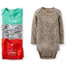 Carter's Baby Girls' 4 Pack Print Bodysuits (24 Months, Animal Print)