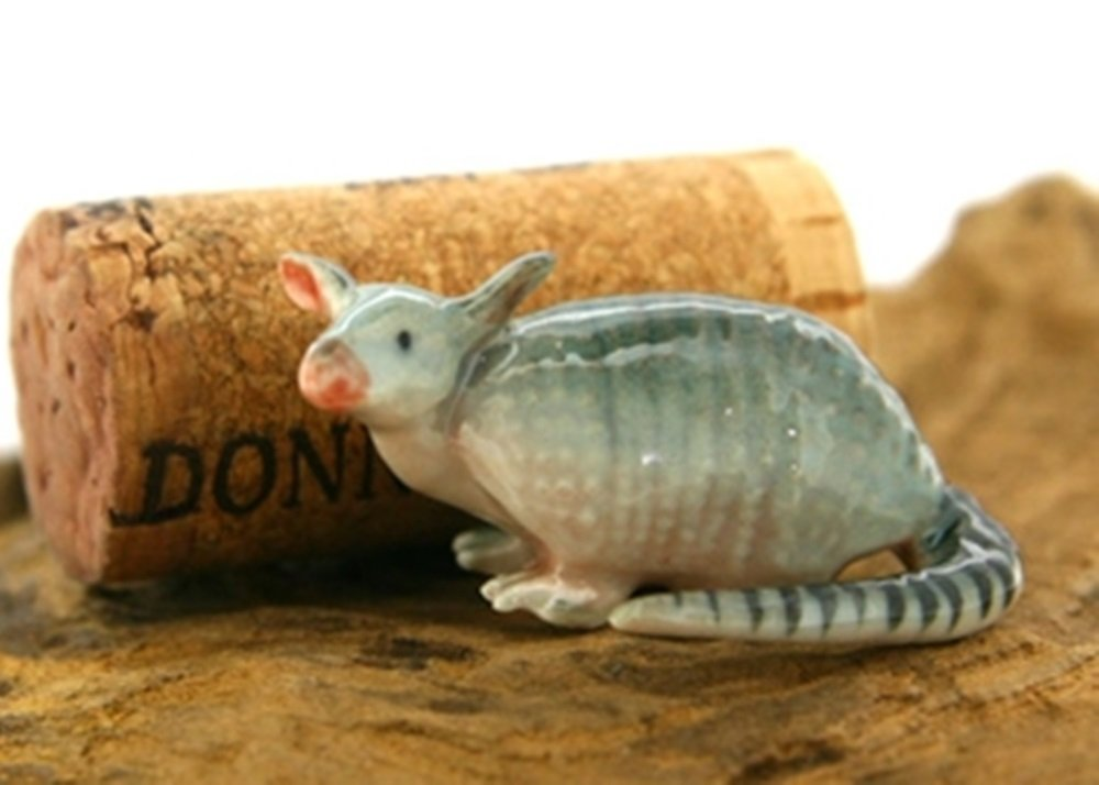 Dollhouse Miniatures Ceramic Armadillo 2 FIGURINE Animals Decor