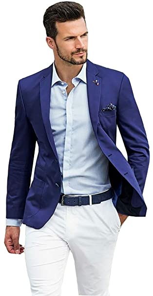 Rey & Aires Mens Navy Blue Casual 2 Piece Suits Slim Fit ...