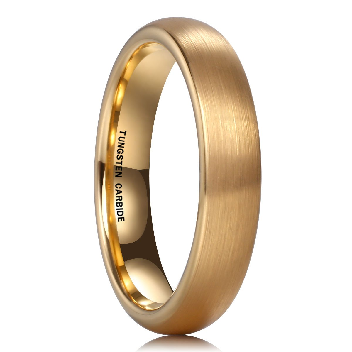 NaNa Chic Jewelry 18K Gold Plated 4mm Tungsten Carbide Ring Wedding Engagement Band Brushed Domed for Women Comfort Fit(8.5)