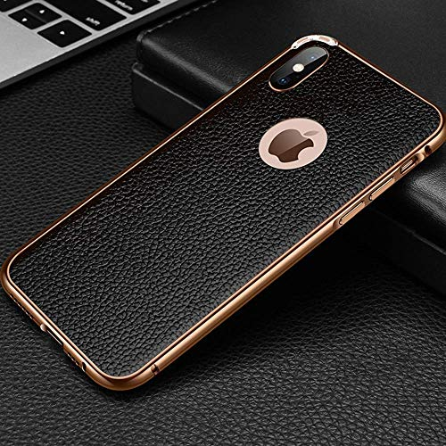 Leather Metal Frame Phone Case for iPhone X XR XS MAX Protective Cover iPhone 7/8 Plus Case Apple iPhone 7/8 Anti-Scratch Shock Absorption Phone Case for iPhone (Gold Black, iPhone Xs MAX)