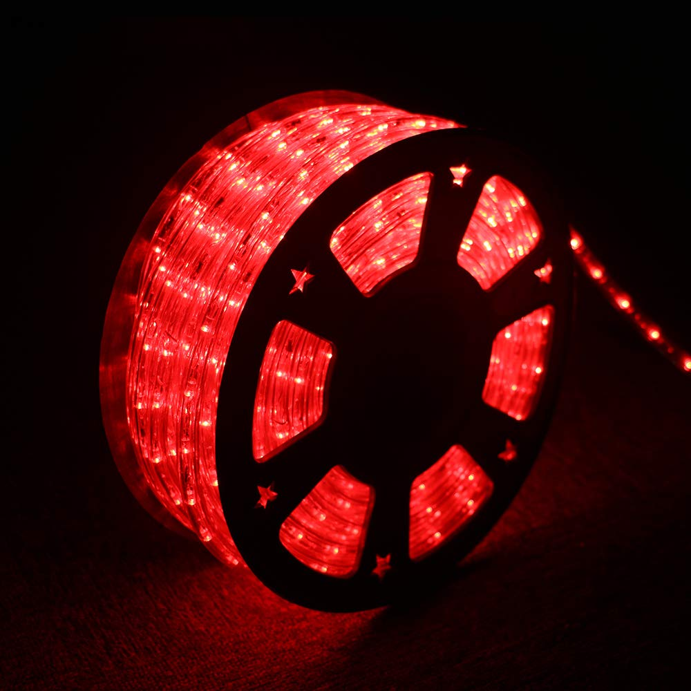 Ainfox LED Rope Light, 150Ft 1620 LEDs Indoor Outdoor Waterproof LED Strip Lights Decorative Lighting (red)