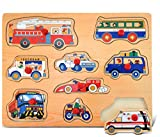 Puzzled Vehicles Peg Puzzle - City Transportation Cars Wood Puzzle Game, Easy To Play Toy, Fun Shape Matching Puzzle Peg Toy, Educational Brain Teaser Game Wooden Puzzle and Learning Activity for Kids