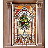 Beyong Life Tiffany Roses Stained Glass Privacy Window film Glass Stickers Church Bedroom Bathroom Office Glass Decor Custom (S(1-6sq.ft))