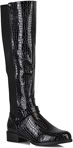 Womens Flat Mid Heel Knee High Ladies Zip Buckle Stretch Leg Calf Boots Size 3-8