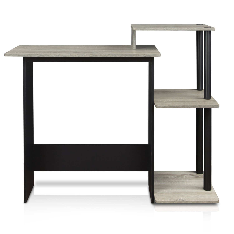 FURINNO 11192GYW/BK Laptop Notebook Computer Desk, Square Side Shelves, French Oak Grey/Black by Furinno