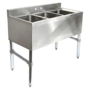 GRIDMANN 3 Compartment NSF Stainless Steel Commercial Bar Sink