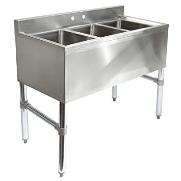 Gridmann 3 Compartment NSF Stainless Steel Commercial Underbar