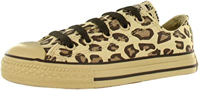 Converse All Star Kids Toddler Oxford Sneakers Animal Print Leopard Tan  Brown