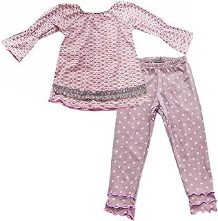 product image for Cheeky Banana Little Girls Geometric Tunic Top & Leggings - Pink & Grey