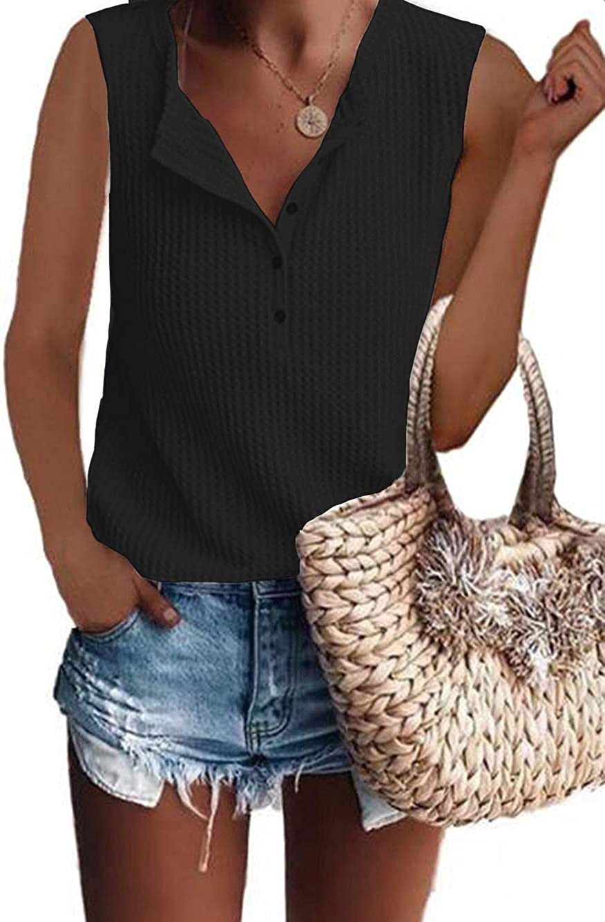 Glanzition Womens Waffle Knit Tunic Tops Loose Long Sleeve Button Up V Neck Henley Shirts