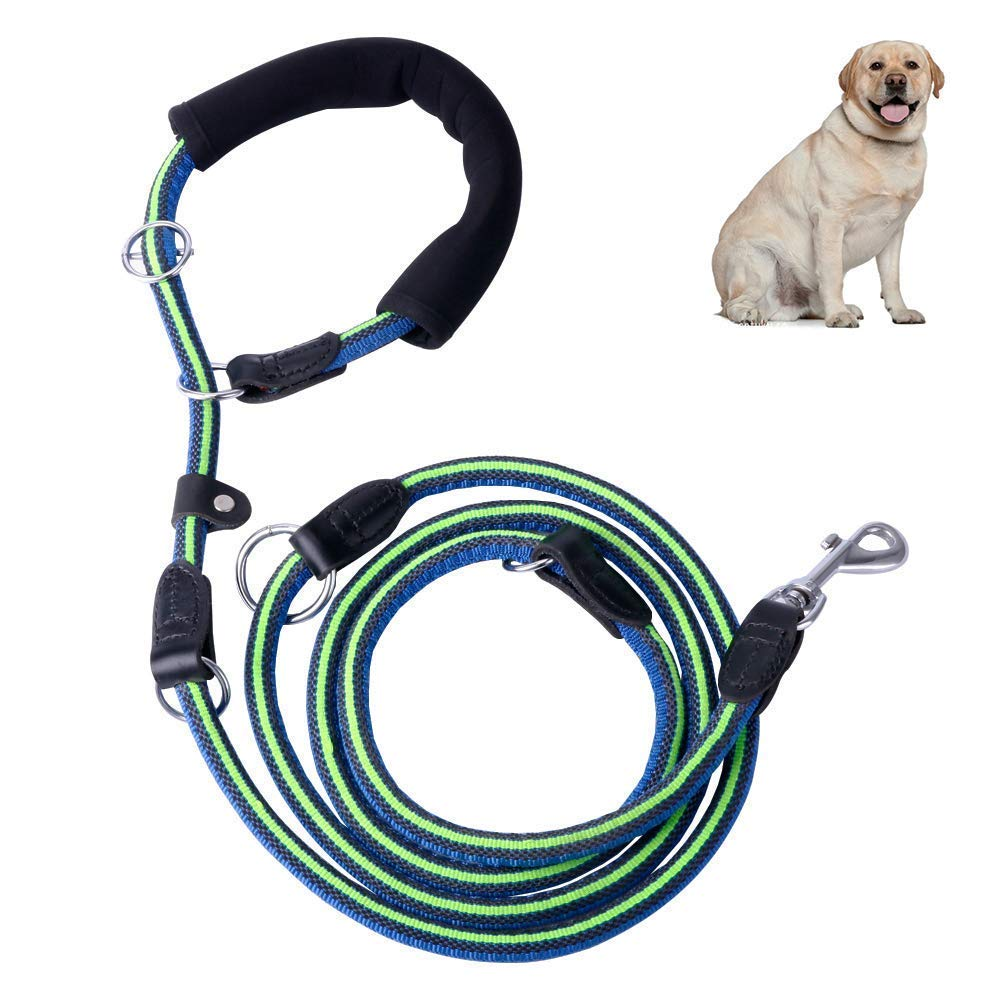7ft Dog Leash with Comfortable Padded Handle, Heavy Duty Non-Slip Long Dog Leash, Strong Retractable Nylon Rope P-Leash, Multifunctional Training Lead for Large and Medium Dogs