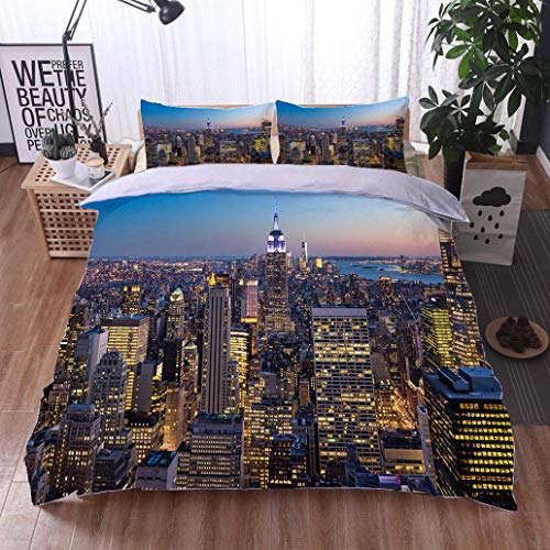 VROSELV-HOME 3 Piece Quilt Coverlet Bedspread,New York City Aerial Skyline at Dusk USA,Soft,Breathable,Hypoallergenic,Bedding Set for Kids,Boys and Teens