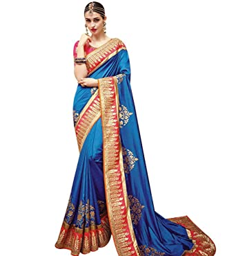 Blue Traditional South Indian Wedding Wear Pattu Saree With Blouse
