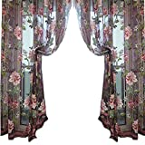 Flower Pattern Sheer Curtain Wall Door Window Balcony Curtain