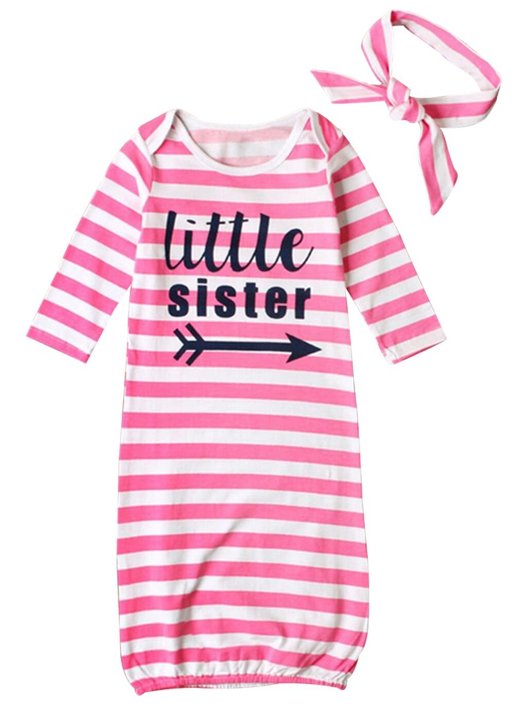 Newborn Baby Boys Girls Letters Print Sleep Gowns Striped Take Home Outfit BANGELY J002U