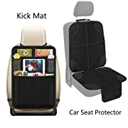 Car Seat Protector Back Seat Car Organizer,Protects Car Upholstery from Child Seats,Plastic Pockets Size up to 10.5inch,5 Pocket Storage Kick Mat Protector