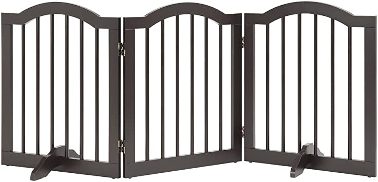 unipaws Freestanding Pet Gate, Puerta para Perros Plegable para Escaleras (51cm W x 61cm H, 3 Panels, Espresso): Amazon.es: Productos para mascotas