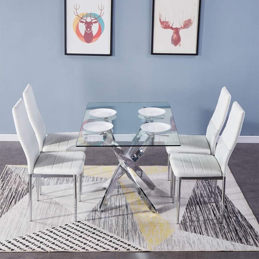 GOLDFAN Table de Salle /à Manger en Verre Moderne Table /à Manger Cuisine Rectangulaire Table avec Pieds Chrom/és pour Salon Bureau etc 110 x 70 x 75cm