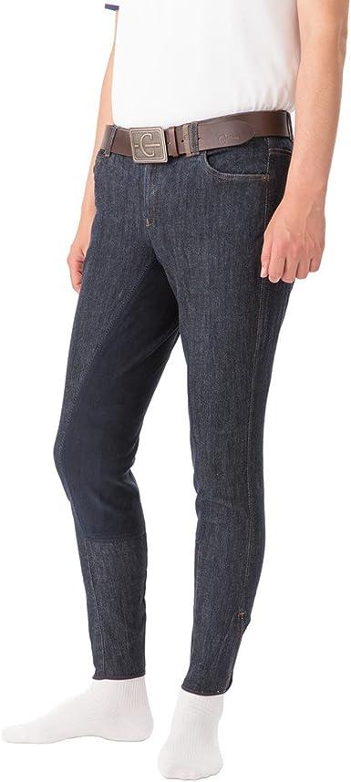 Pantalón de Montar Denim Caballero, culera de 3/4 Clarino, Talla ...