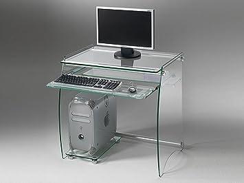 Pezzani clear bureau pour ordinateur en verre amazon