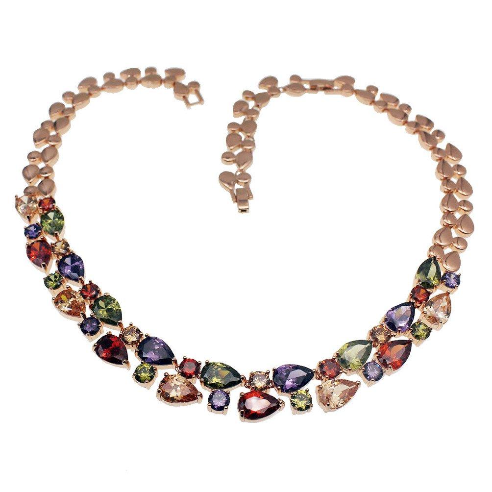Vanessa Rose Gold Multi Gemstone Jewelry Sets for Women,Sparkling Garnet Amethyst Morganite Peridot Topaz (Necklace)