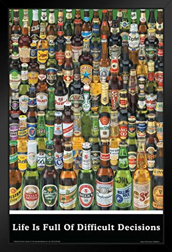 Pyramid America Life is Full of Difficult Decisions Beer Brands College Black Wood Framed Poster 14x20
