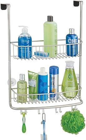mDesign Colgador de ducha para la mampara – Elegantes estantes para baño sin taladros – Estanterías de baño
