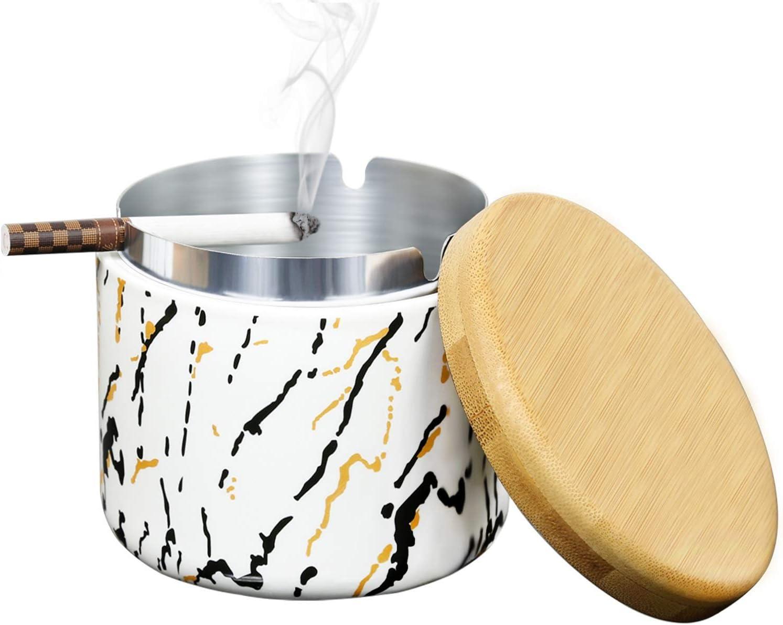 Negro SEA or STAR Cenicero de cer/ámica con tapa Ceniceros a prueba de viento estampados a mano Ceniceros para cigarrillos dom/ésticos o al aire libre