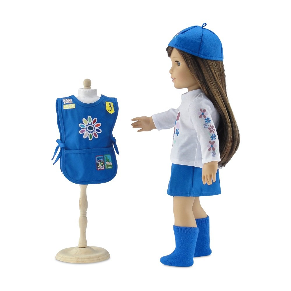 Emily Rose Doll Clothes Gift Boxed Including Tunic with Embroidered Patches! 18 Inch Doll Clothes Fits American Girl Dolls Daisy Girl Scout-Inspired 5 Piece Outfit