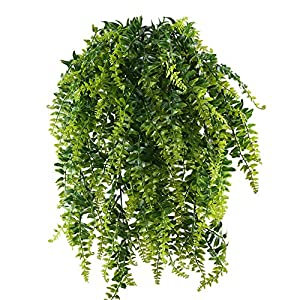 HOGADO 2pcs Artificial Hanging Ferns Plant Fake Plastic Hanging Greenery Plant Kimberly Queen Boston Fern for Wall Indoor 26