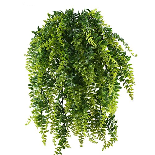 HOGADO 2pcs Artificial Hanging Ferns Plant Fake Plastic Hanging Greenery Plant kimberly Queen Boston Fern for Wall Indoor Outdside Hanging Basket Planter Floral Wedding Greenery Garland (Hanging Plants Artificial Indoor)